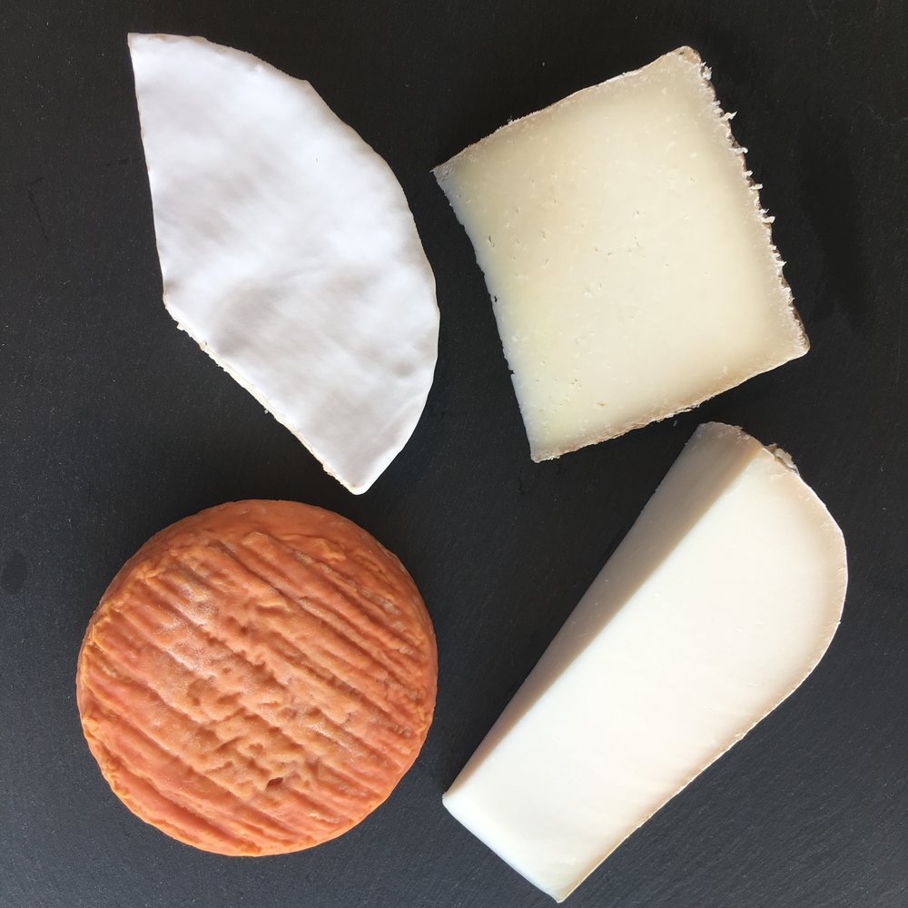 Brillat-Savarin, Brabander, Manchego 1605, Epoisses - Brillat-Savarin – A soft, ultra buttery French triple crème. Made with cow milk and extra cream, this cheese is one of the most luxurious and decadent cheeses in the brie-style category.Brabander – A goat milk gouda carefully aged by Fromagerie L'amuse in the Netherlands. Semi-firm, but still creamy, with notes of sweet cream, toasted nuts, and caramel.Manchego 1605 – This small-batch, farmstead Manchego is produced with raw sheep milk and a natural rind, and is selected for sweetness and balance. It showcases notes of hay, almond, and toasted brioche.Epoisses – A soft cow milk cheese made by Berthaut in Burgundy, France. The rind is washed in Marc de Bourgogne, giving the cheese a distinct and pungent aroma. It's intensely savory, meaty, funky, and full flavored.Call us at 818-849-5523 or CLICK HERE to order online for next day pick-up.