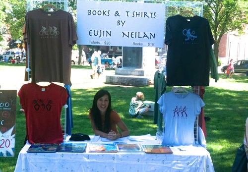 The first day Eujin started to sell her T-shirts at Flea Market in Natick Common 2010