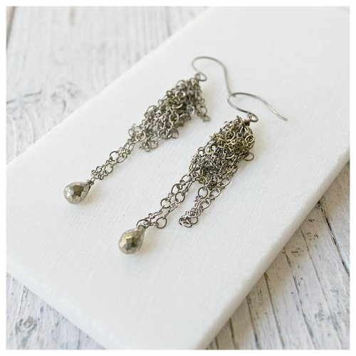 Jumbled Chain With Pyrite Earrings