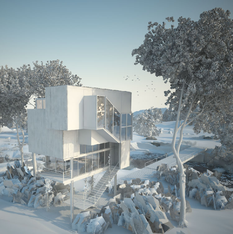 Oteiza House_rendering of vegetation and trees