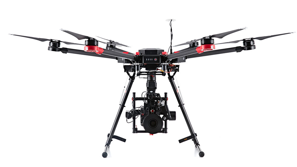 DJI-M600 Pro - The M600 Pro flying platform is designed for professional aerial photography and industrial applications. We use it to hold the RED scarlet to get the best possible aerial cinematography.