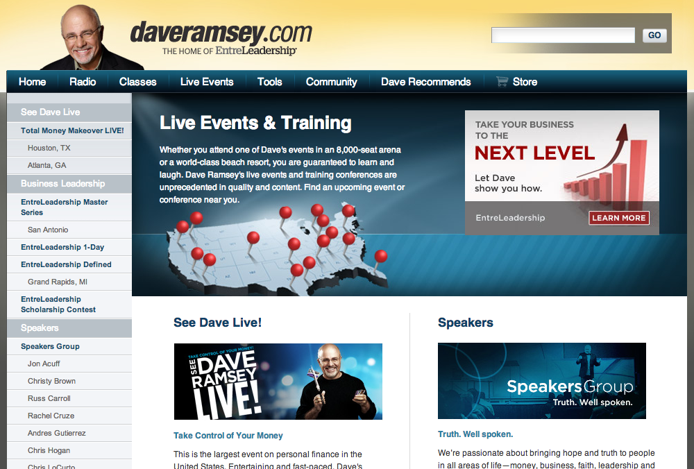 Dave Ramsey's Live Events site
