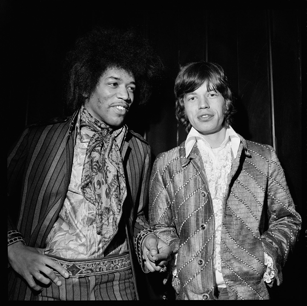 Jimi hendrix and Mick Jagger by Alec Byrne