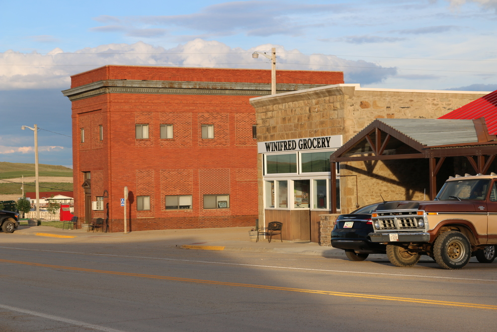 The stately Winifred Old Bank Lodge is the former home of Winifred State Bank and is the second oldest building in Winifred (behind only the Winifred Grocery building).