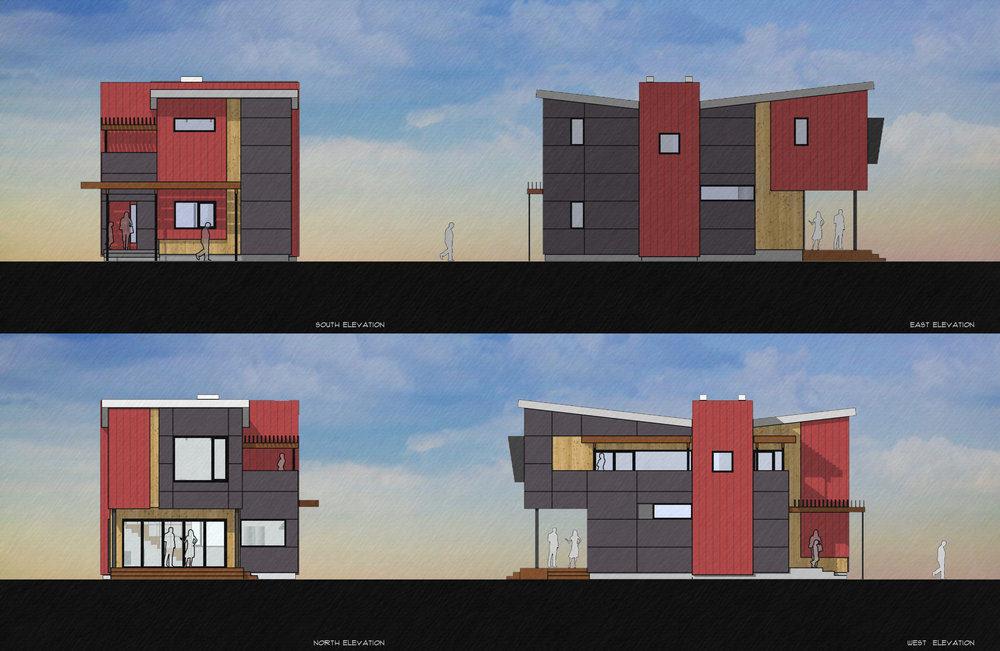 The exterior palette was designed to be both beautiful and require minimal maintenance with dark anodized aluminum windows and a dark grey field of fiber cement board siding accented with red metal siding at the entry/stair tower and smaller infill of clear, knotty cedar.