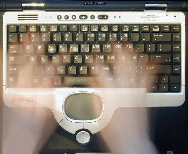 """Will this ghostwriter get paid? """"Keyboard ~ Blur,"""" by Hobvias Sudoneighm on Creative Commons."""