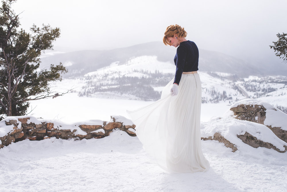 this bride married in style with her bhldn skirt and navy sweater