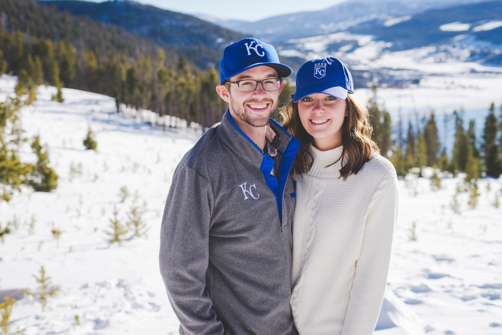 the last photos of their engagement session had to show a bit more kansas city pride! a perfect way to finish off this couple's destination engagement photo session in colorado