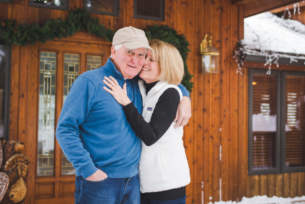 the grandparents deserve some extra love away from the rest of the family. a sweet moment between these two during their busy winter family photo shoot in breckenridge, colorado