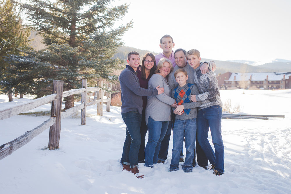 winter family hug at Copper Mountain - great way to stay warm!