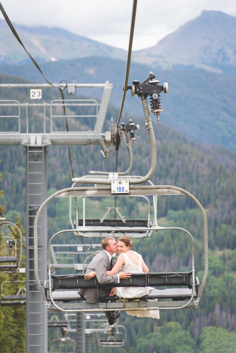 here's the best way to start your new adventure of marriage: take a chair lift ride down from your mountain top ceremony!