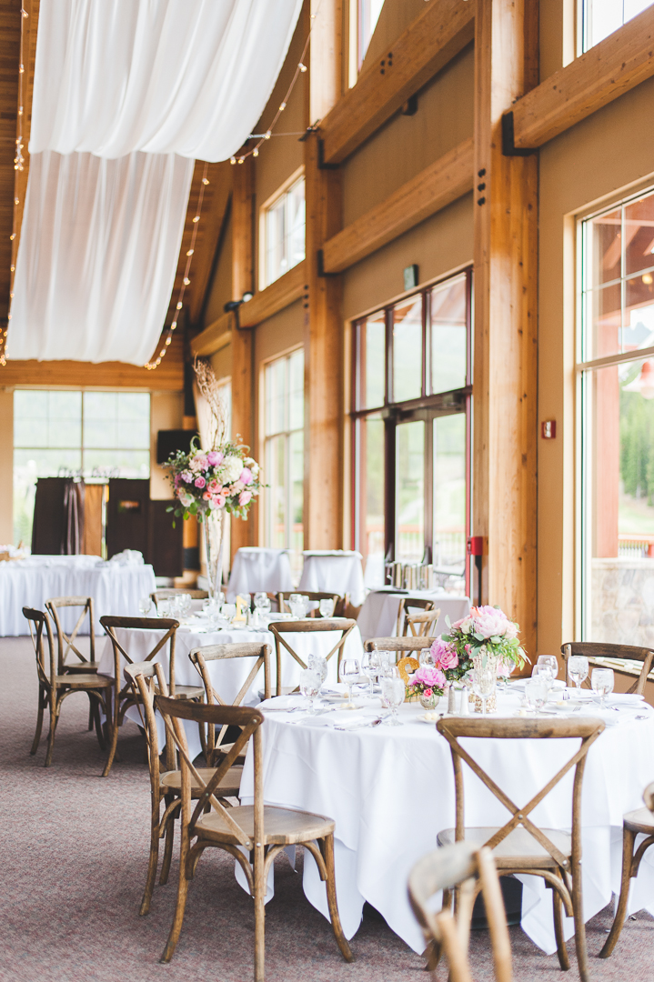 A beautiful setup for the beautiful Grand Hall reception venue at Copper Mountain, Colorado.