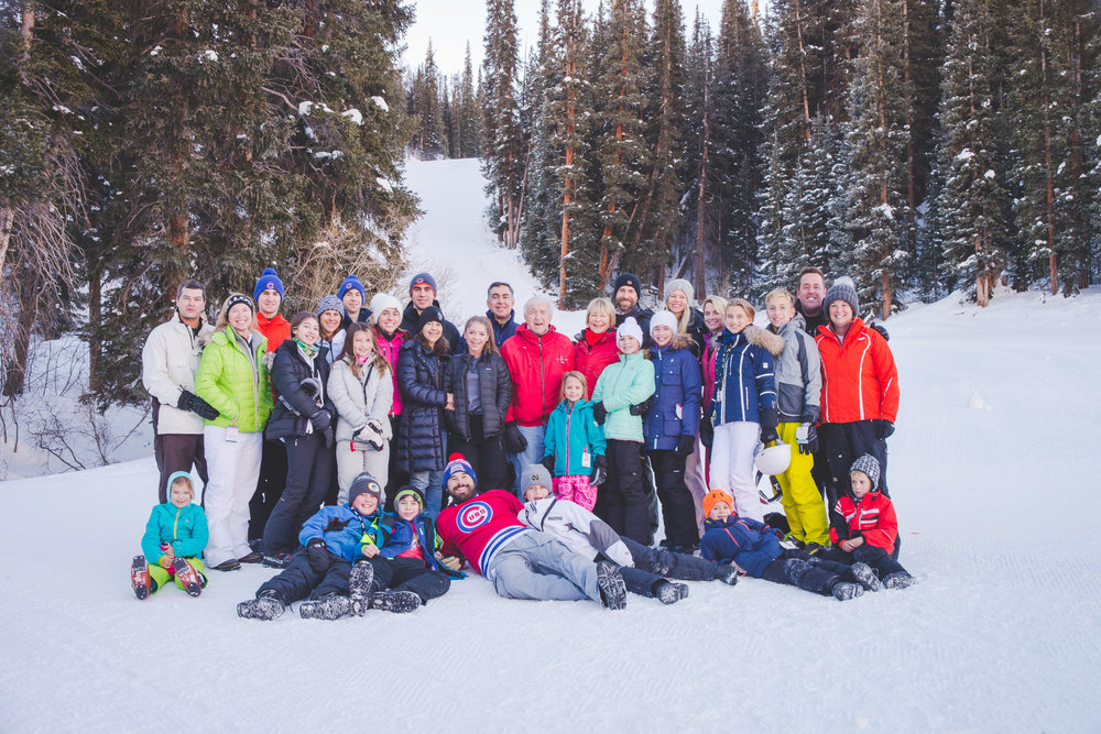 family photo in the snow copper mountain