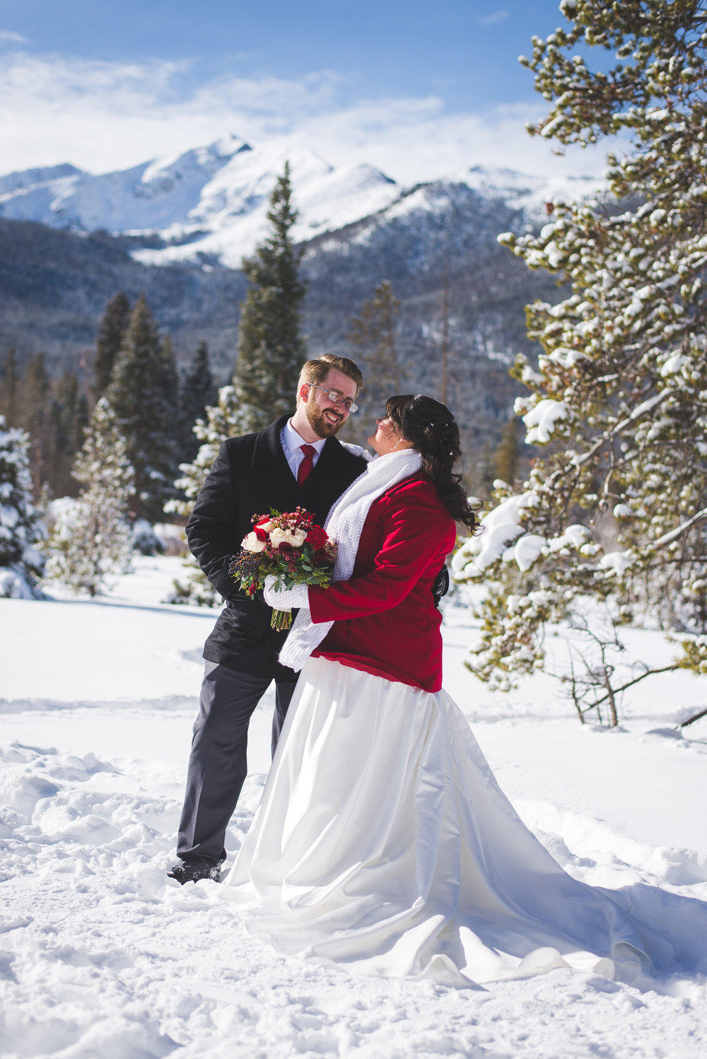Peak One in Frisco, Colorado is the perfect, majestic mountain for a winter elopement backdrop!