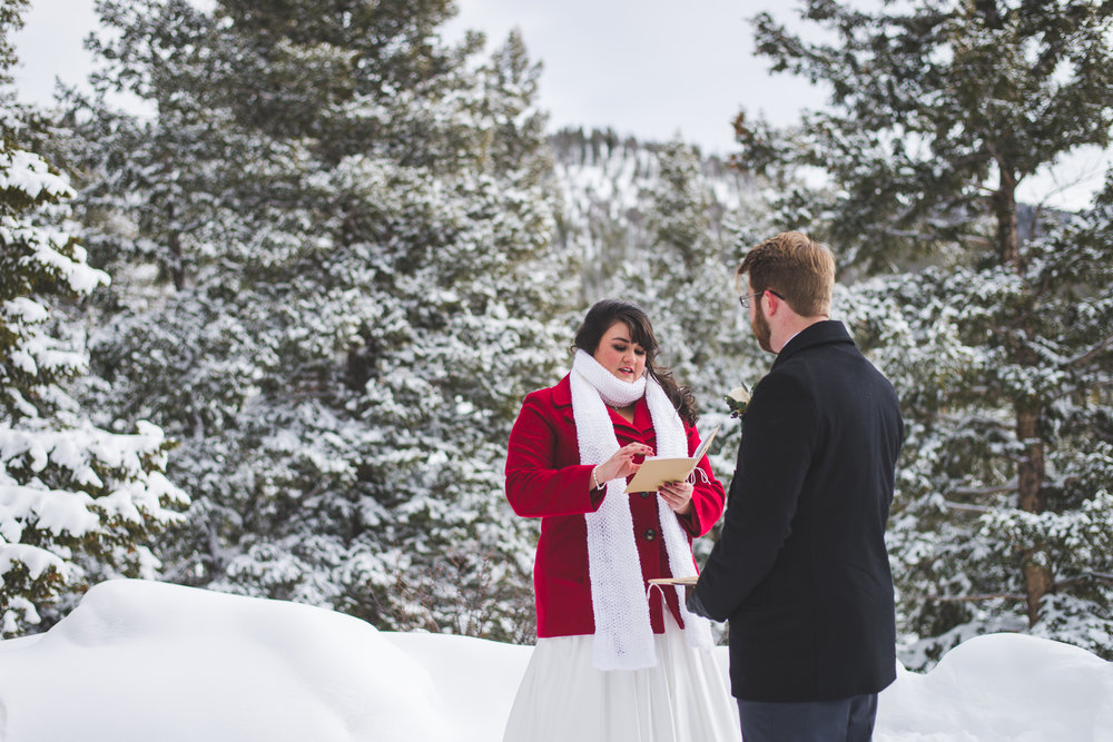 Beautiful winter elopement at Sapphire Point near Breckenridge, Colorado.