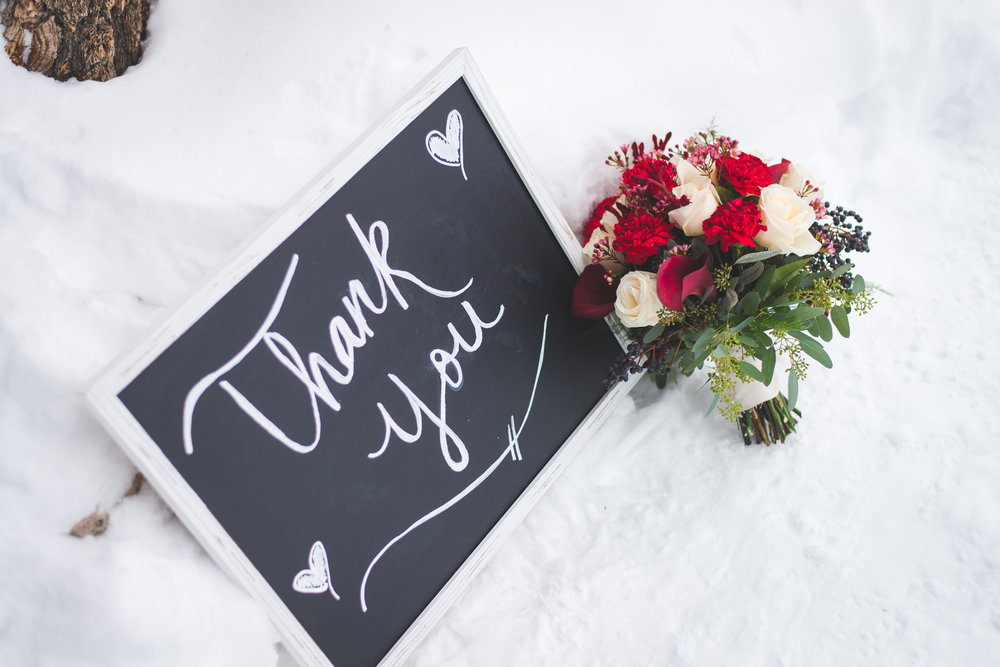 "a small chalkboard with a ""thank you"" note is a great detail to add to your elopement"