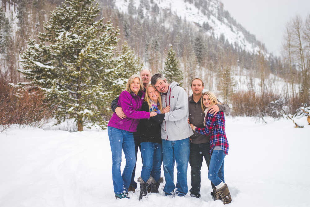 Frisco, Colorado winter family photography session in the middle of fresh, falling snow
