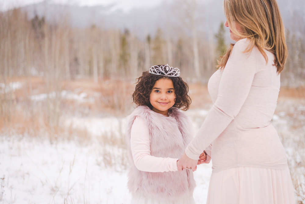 Blush outfits and tiara for young girl's winter portraits | Accessorizing for your Portrait Session | Keeping Composure Photography