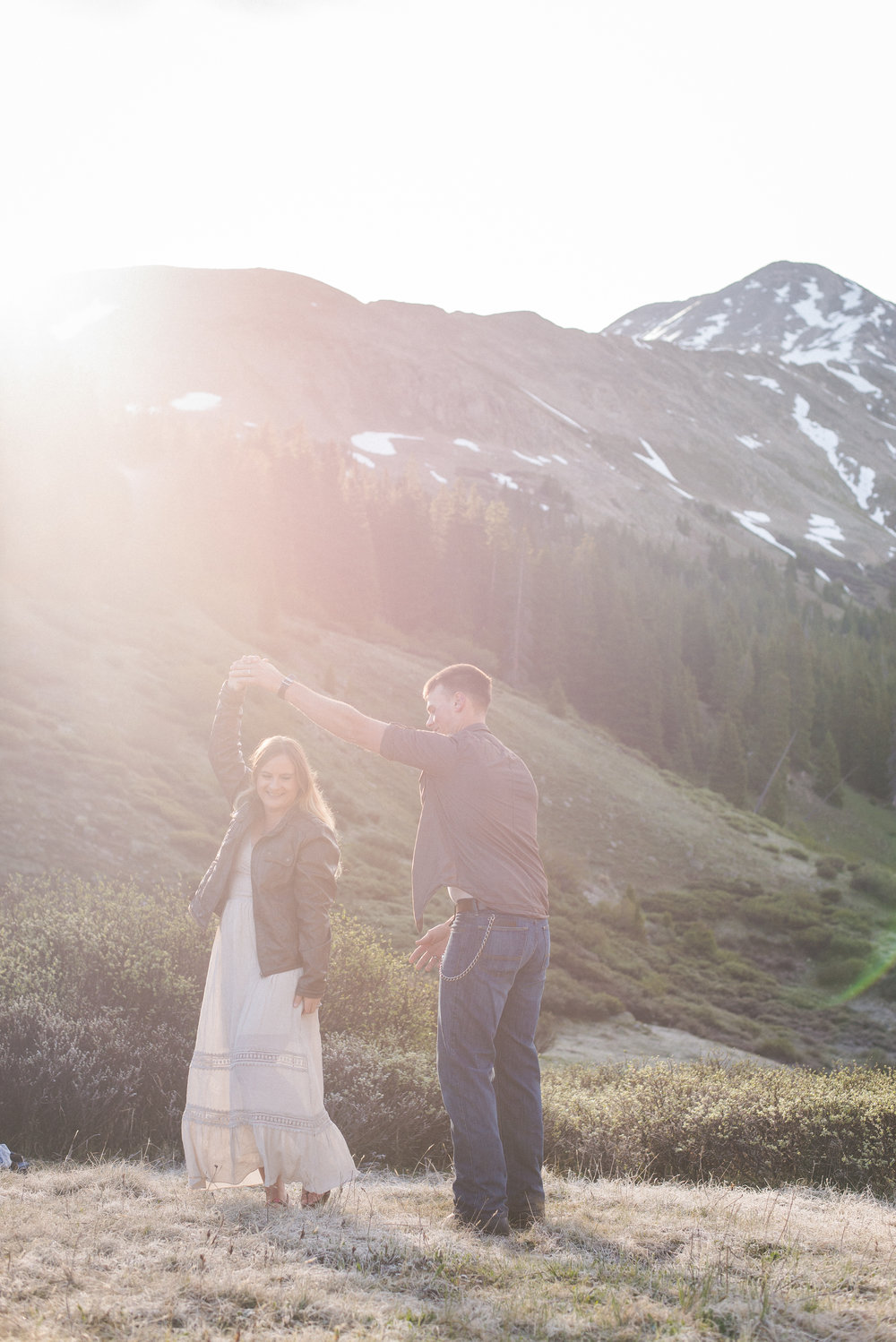 dancing in the  mountains, sunrise colorado portraits