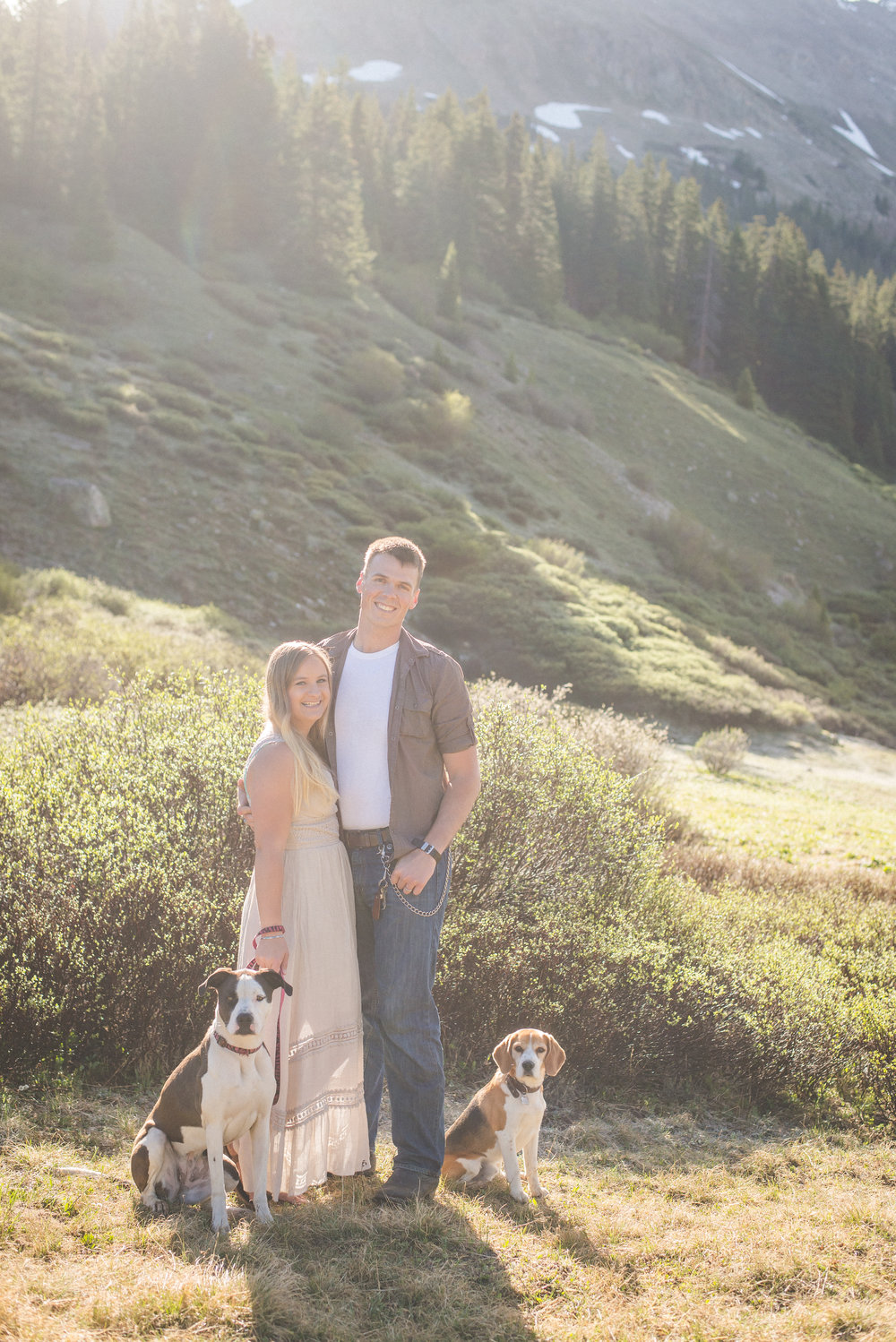 family portraits with dogs in mountains