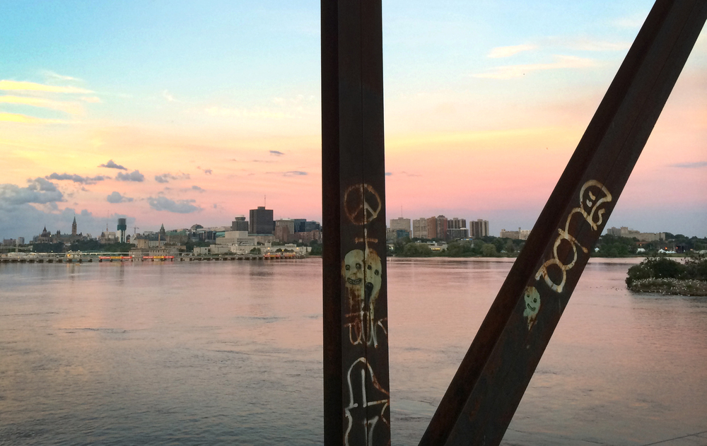 Downtown Ottawa, view from the abandoned Prince of Wales make-out bridge. We hang out here all the time, and it rules.