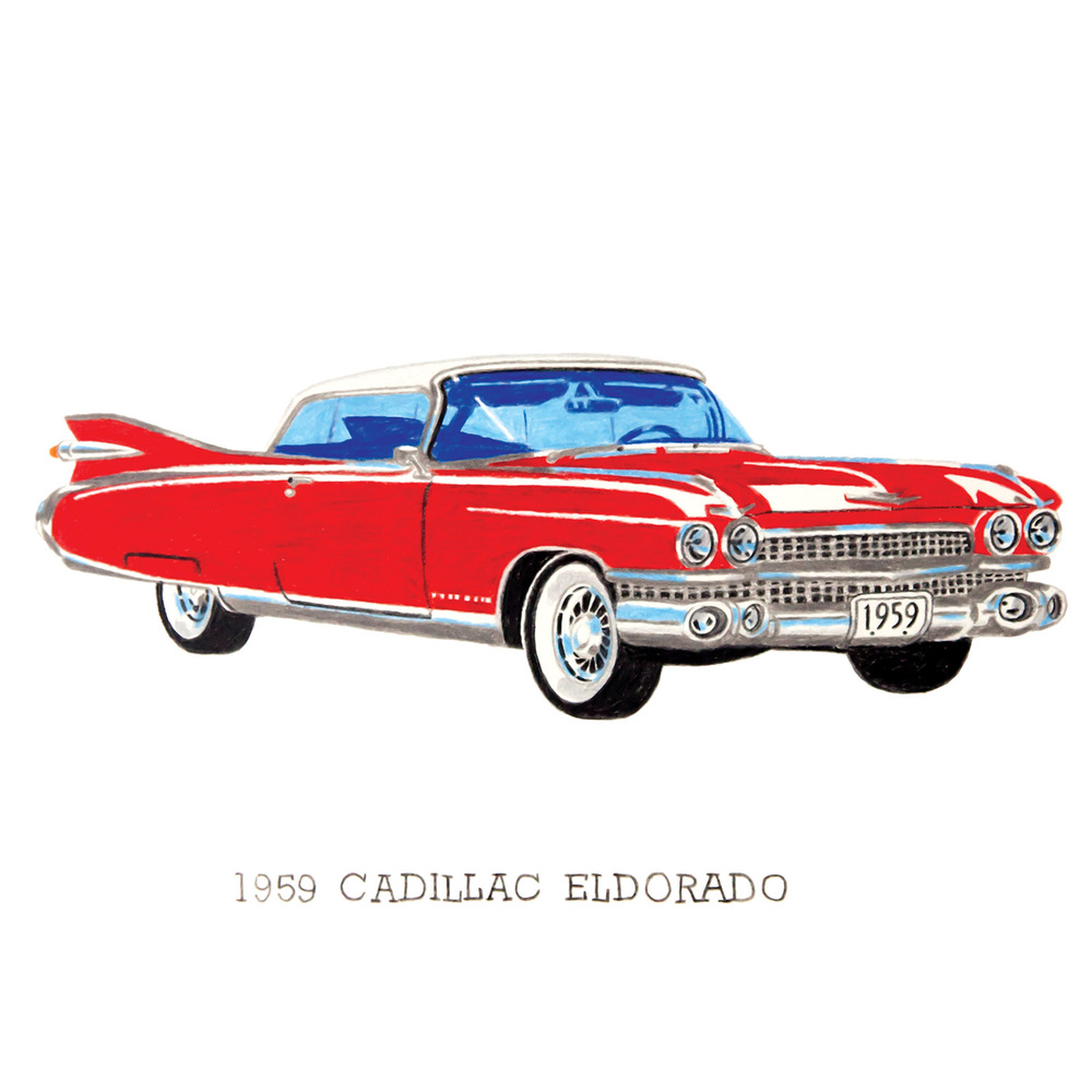 1959 Cadillac Eldorado coloured pencil drawing