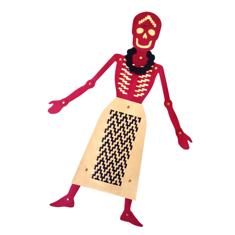Skeleton Puppet card, weaving, fasteners, 60 cm