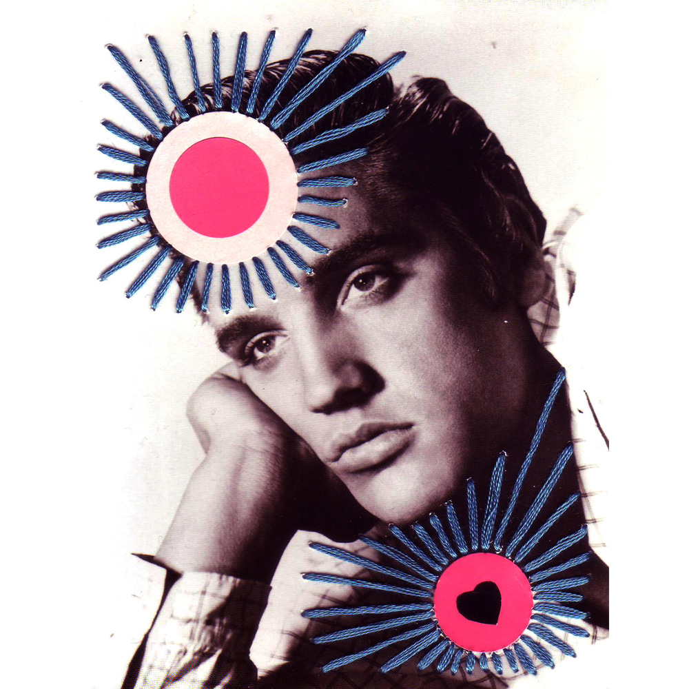 Elvis Embroidery thread, stickers, postcard