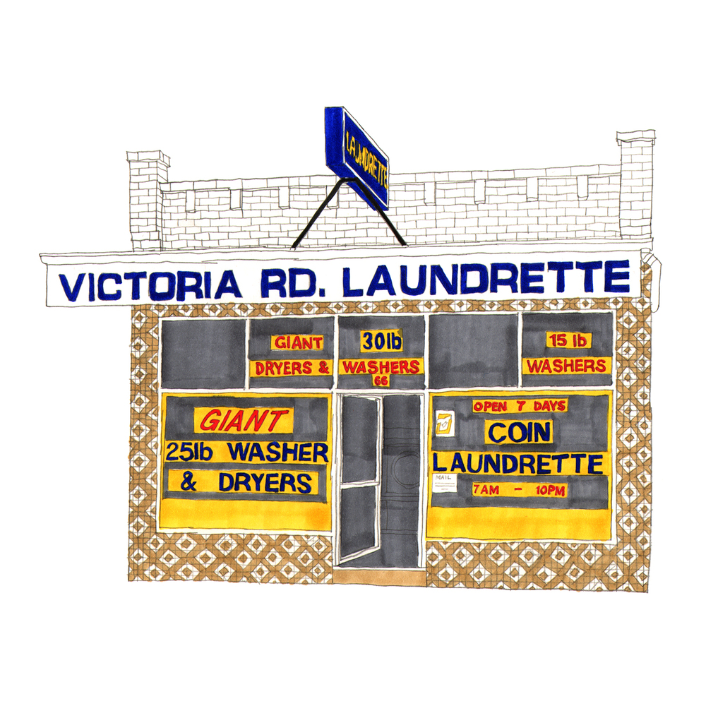 Victoria Road Laundrette, Fairfield  pencil, marker pens