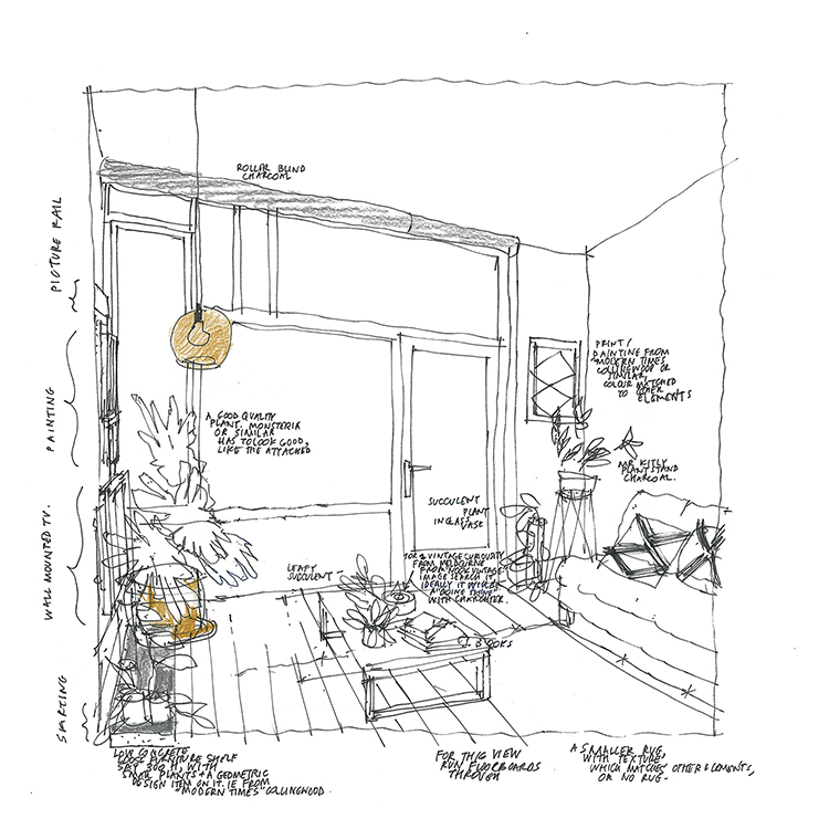 Sketch of Apartment Interior   for styling the marketing renders