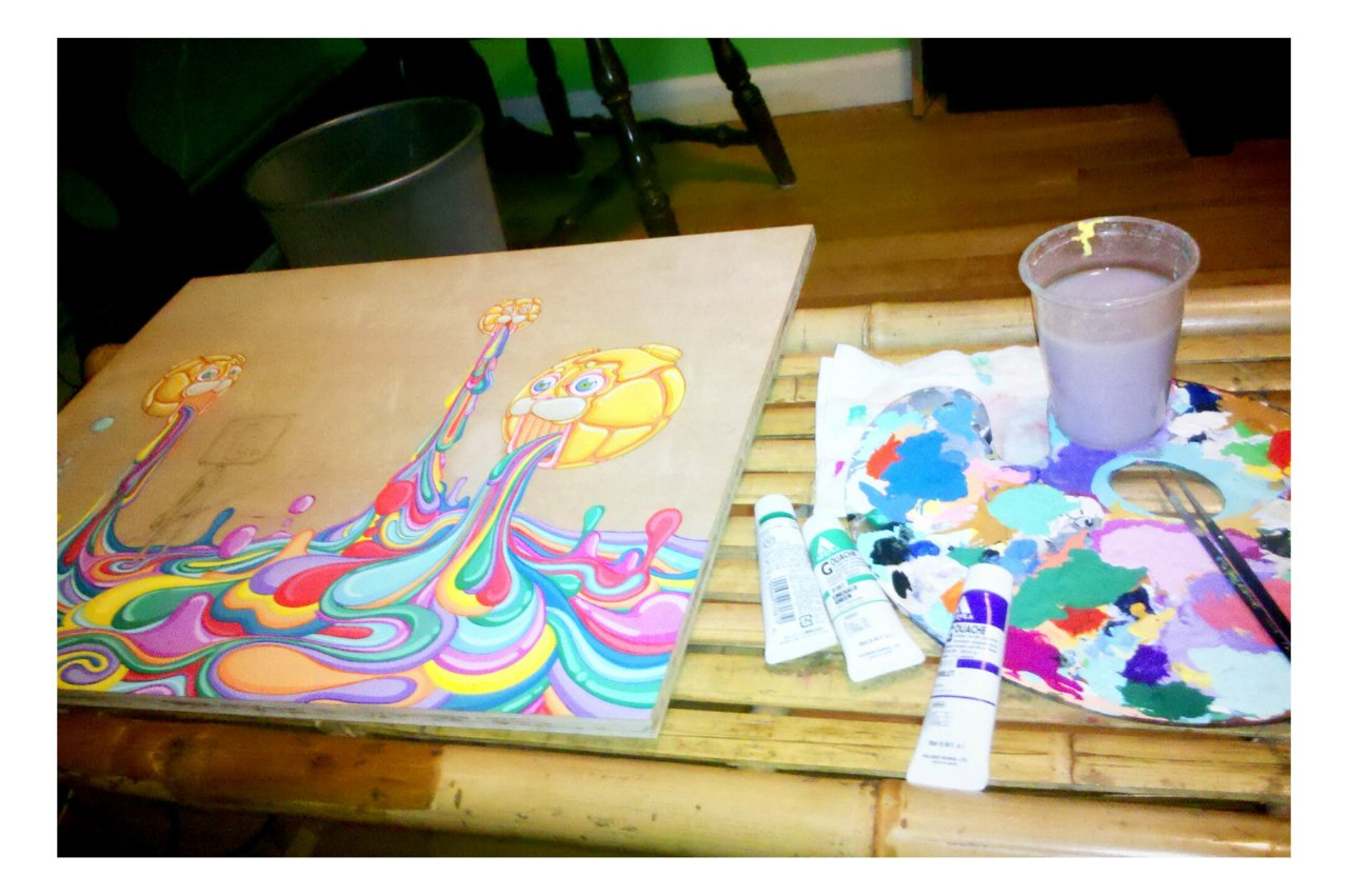 New painting in the works. Getting mighty psychedelic over here.