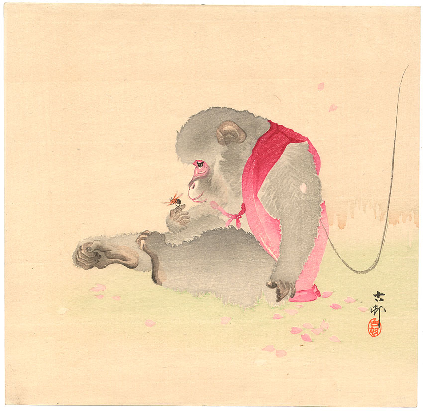 printsandthings :     Koson - Monkey looking at an insect, ca 1900