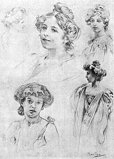 Sketches by Alphonse Mucha.
