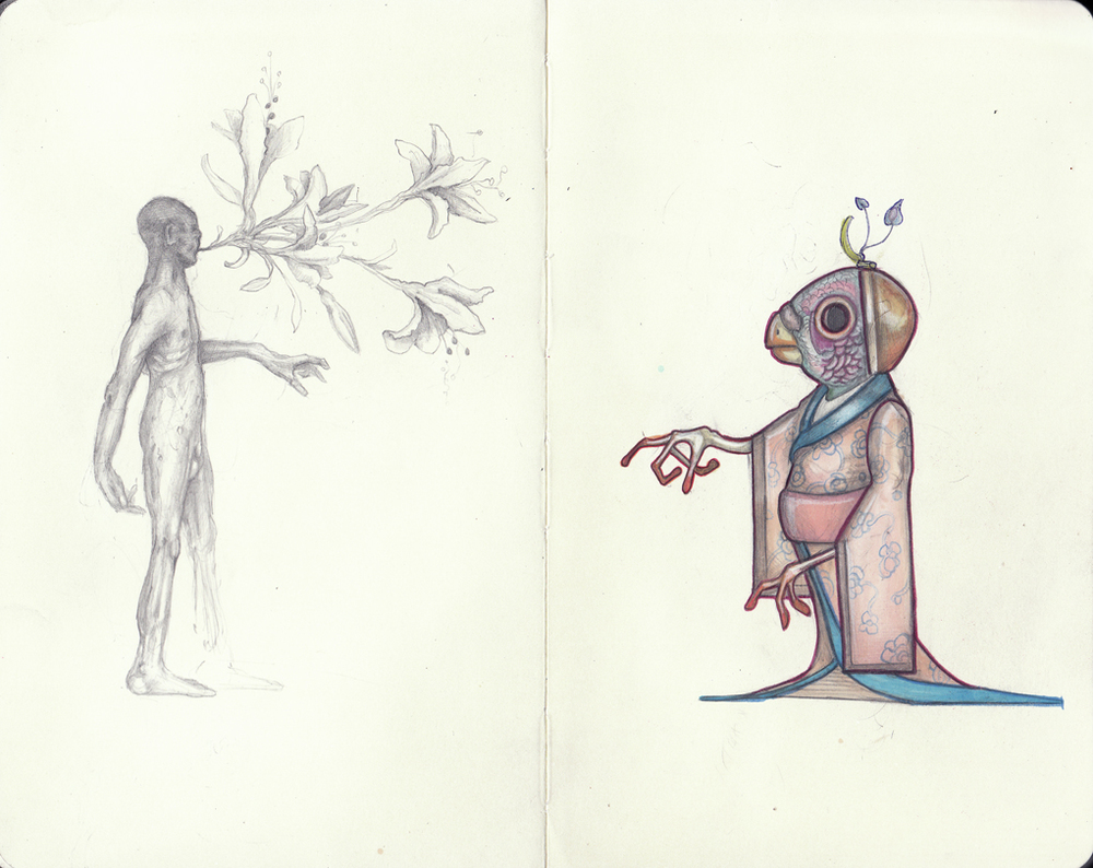 Graphite, colored pencil, and maker in Moleskine.