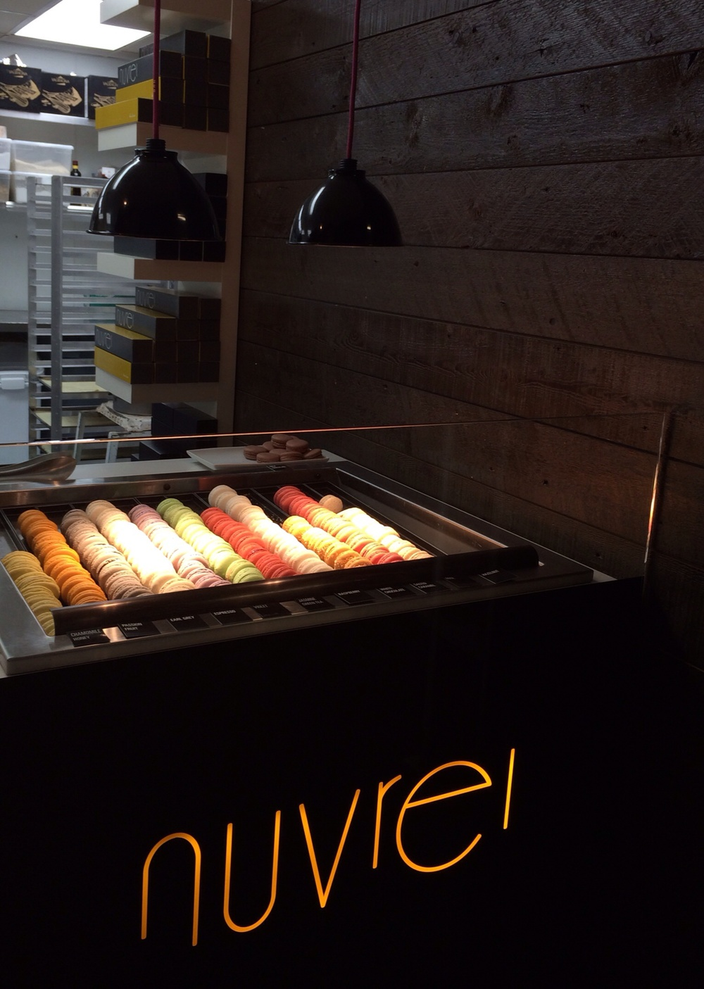 The Macaron stand is hidden downstairs from the cafe
