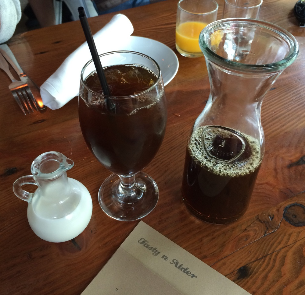 The ice-coffee came in a carafe. I am liking this place already!