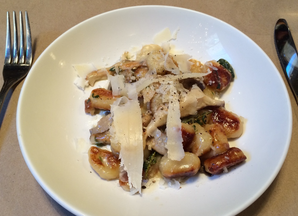 Roasted Gnocchi with Mushrooms, and Grated Cheese on top,
