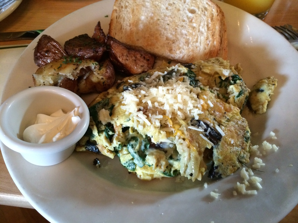 GRILLED PORTOBELL0 MUSHROOM SCRAMBLE - WITH SAUTÉED SPINACH & ASIAGO CHEESE