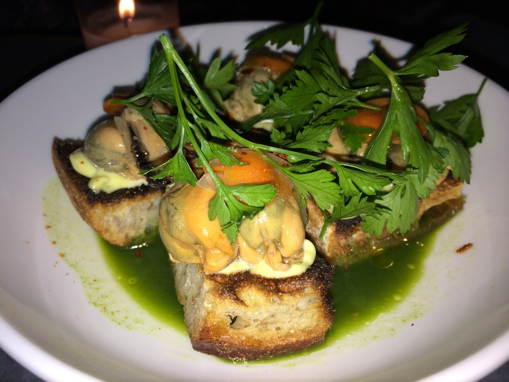 MUSSELS ESCABECHE ON TOAST
