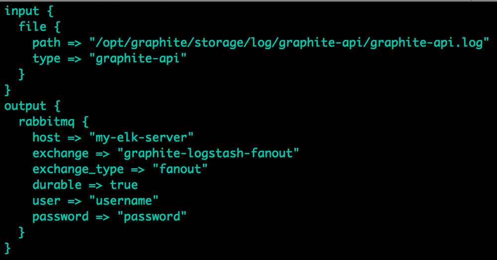 Logstash configuration on Graphite server