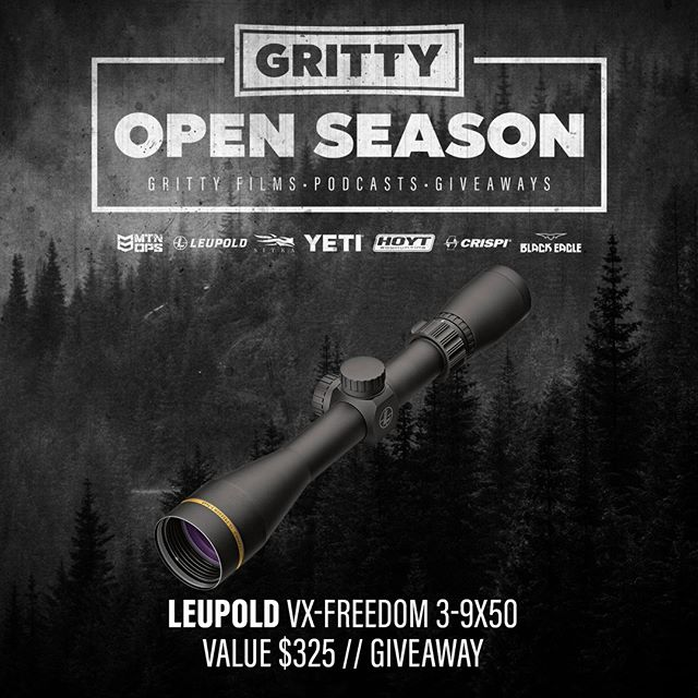 "GIVEAWAY! It's OPEN SEASON! And we're kicking off the season with five weeks of GRITTY FILMS, PODCASTS, and GIVEAWAYS!  I have some amazing partners and EVERY one of them has pitched-in some gear for our OPEN SEASON event!  THIS WEEK on INSTAGRAM, win this @LEUPOLDOPTICS  VX-Freedom 3-9x50 Rifle Scope.  Just ""like and follow"" @brian_call and @LEUPOLDOPTICS on Instagram and tag a friend on this post to be entered to win.  If you're already following us, tag a friend and you're good to go!  Winner will be announced THIS SATURDAY, Sept 15TH!  We're giving away the house! Win more gear on Facebook and Youtube EVERY WEEK!"