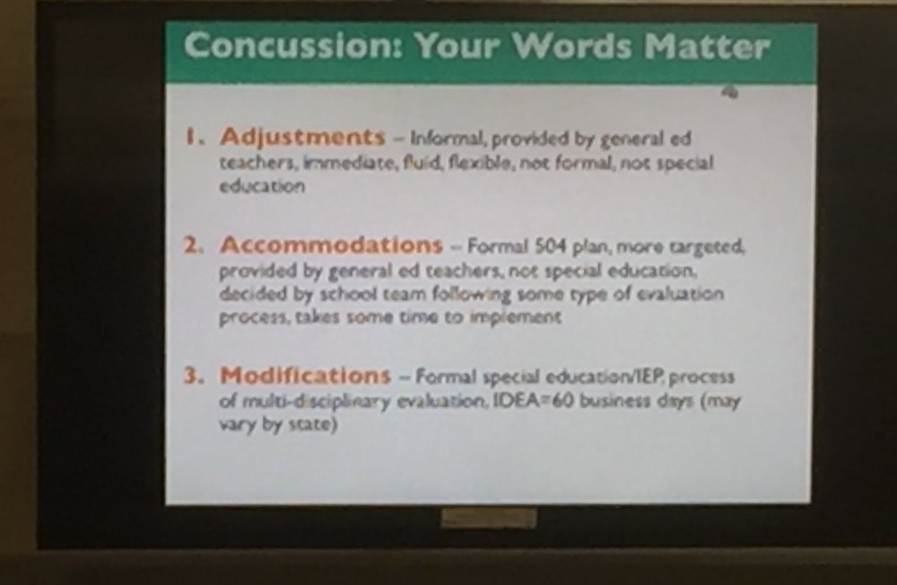 Make sure there is consistent agreement on terms describing what assistance students may receive after a concussion.