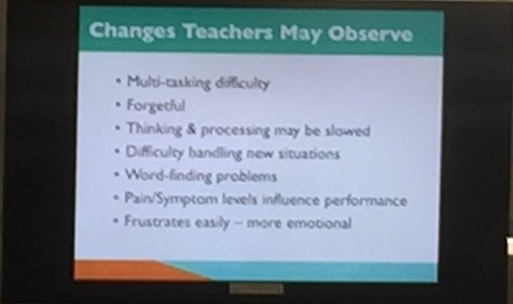 "Great summery of changes that not only teachers should be assessing but also provide the framework for medical providers and families to address classroom difficulties. One of Brenda's key points- recall issues after concussion tend to be difficulties with information retrieval (""on the tip of my tongue"") than true memory deficits."