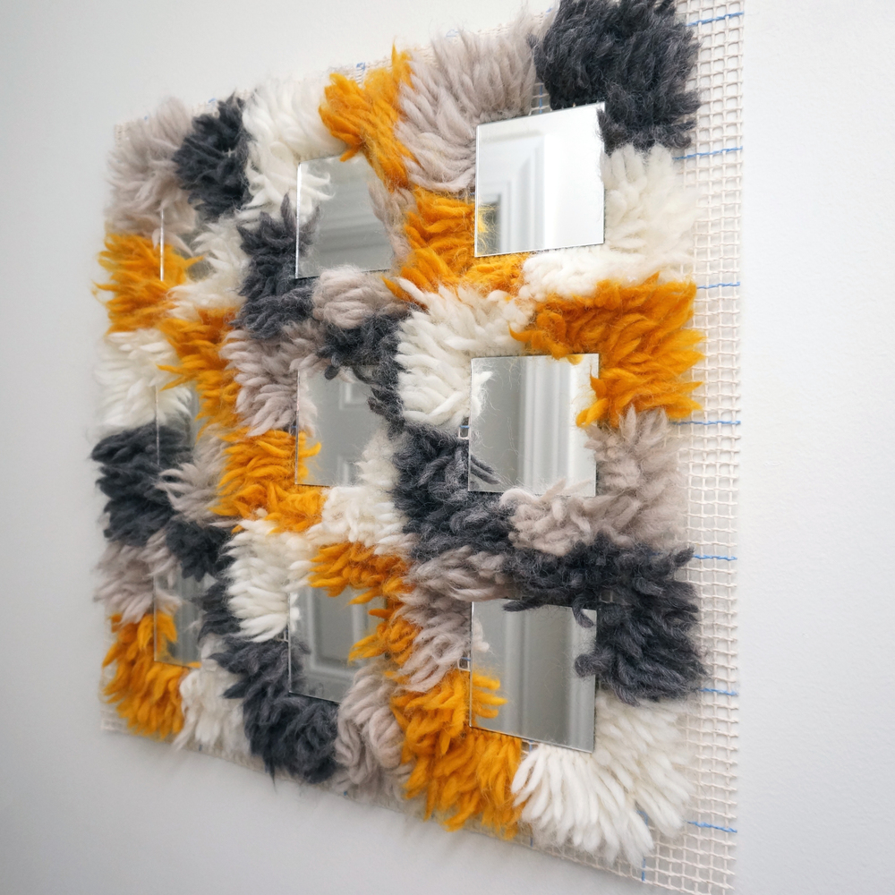 "Made of Wool, Mesh, and Mirror (18.5"" X 18.5"")"