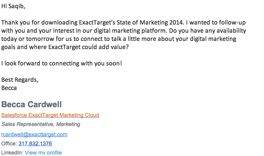 An email follow up from a sales rep at ExactTarget as a result of me downloading their e-book.