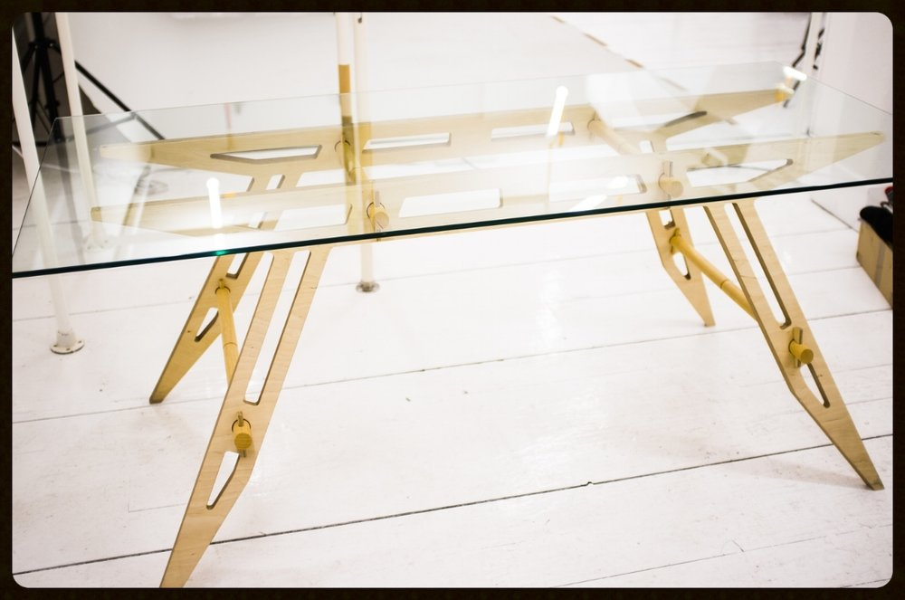 Carlo Molino inspired plywood and glass table