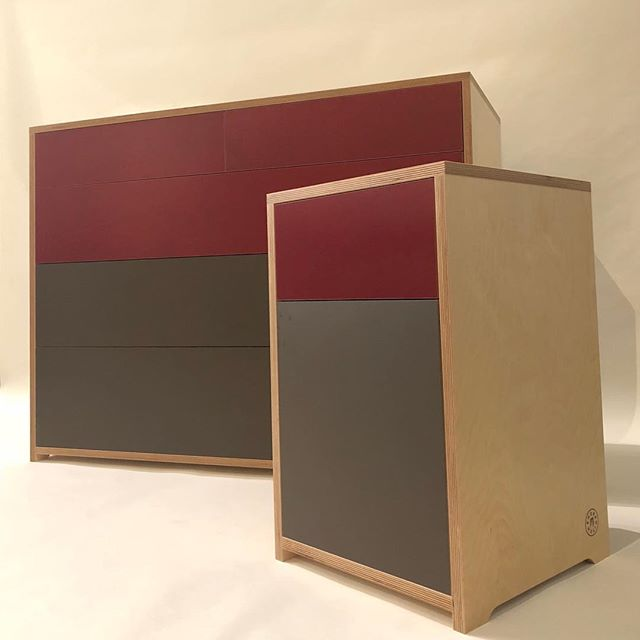 Bespoke 5 drawer unit and matching bedside table.