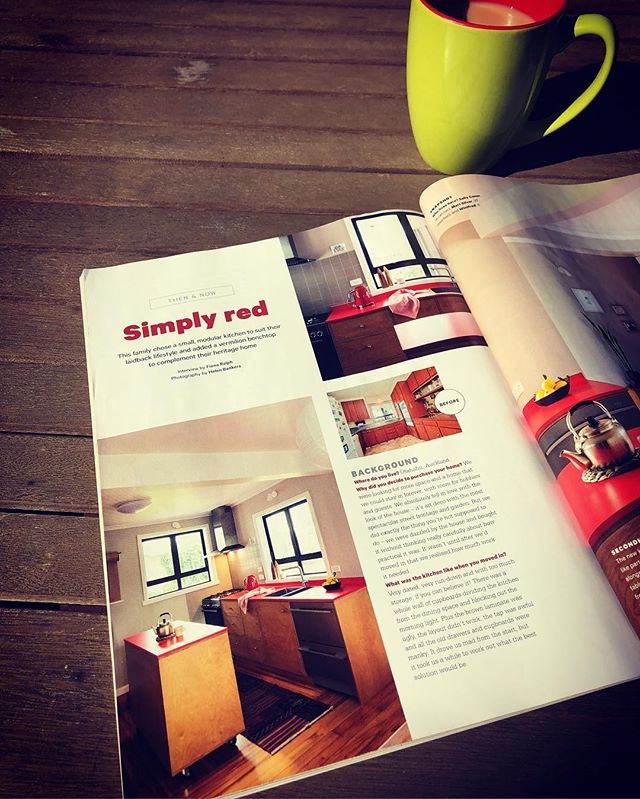 Simply Red... Simply Shoreditch. Sally and Matt's kitchen renovation in February's edition @yourhomeandgardenmagazine #shoreditchfurniture #yourhomeandgarden  #kitchen #interior #customcabinetry #kitchencabinets #plywood #plywoodfurniture #plywoodkitchen
