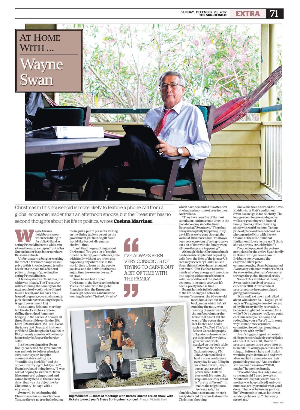 Treasurer Wayne Swan at his home in Kedron, QLD.