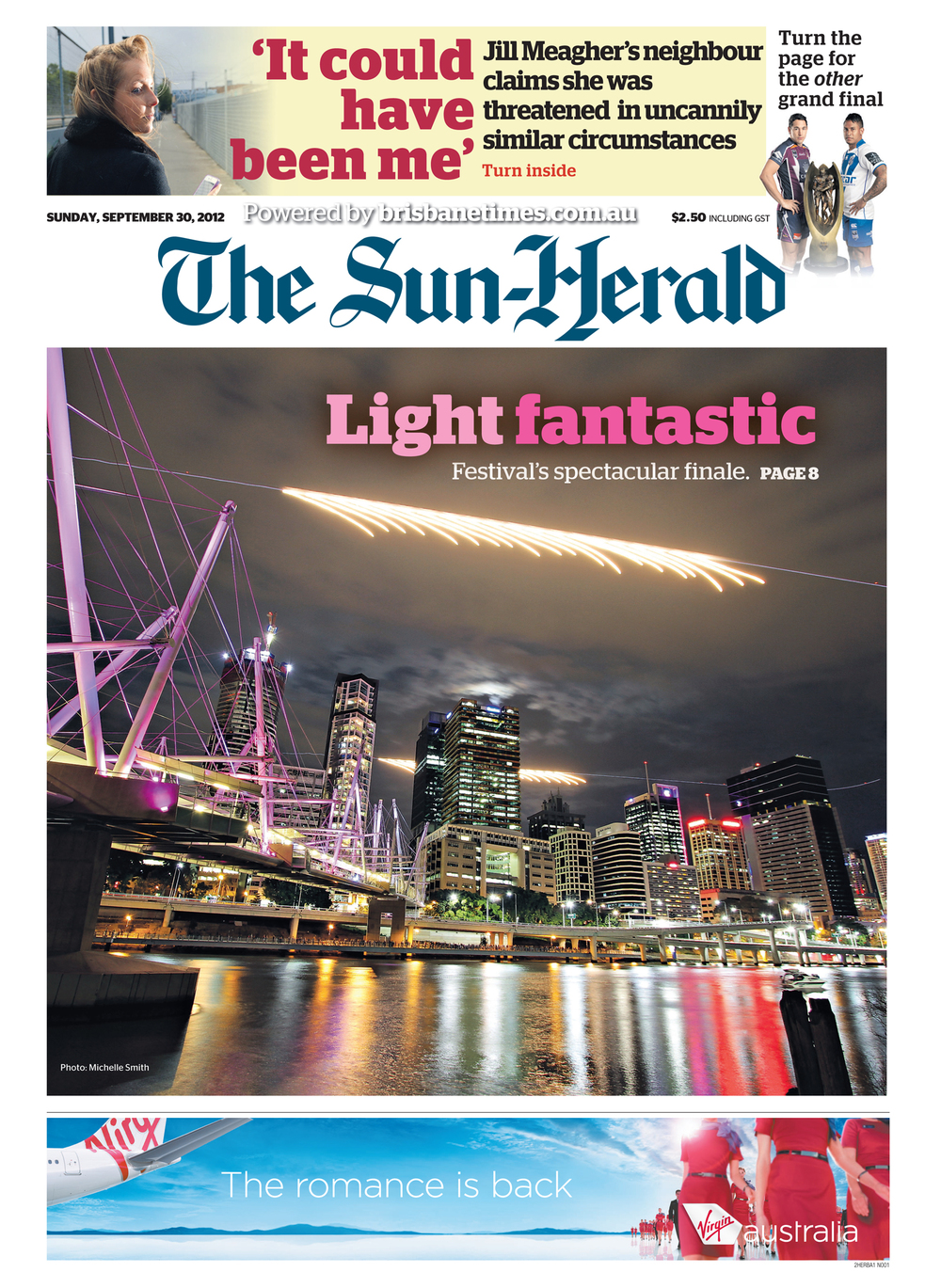 Two Super Hornets light up the Brisbane sky during Riverfire.